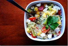 Kiwi Mango Quinoa Salad is full of healthy fruits and veggies, making it perfect for a light lunch or dinner! #glutenfree | iowagirleats.com