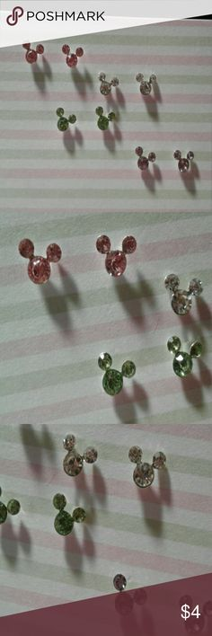 4 pairs Mickey Mouse Rhinestone earrings Dainty Mickey Mouse Rhinestone earrings. All 4 pairs are included for $4. They are for pierced ears. Check out all of my other jewelry listings for bundle savings. Jewelry Earrings
