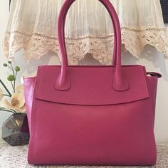 Leather tote Pink leather tote Leather satchel tote by PomponiBags Pink Accessories, Handbag Accessories, Pink Leather, Soft Leather, Leather Satchel, Leather Purses, Womens Purses, Rose, Spring Design