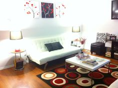 My white, red, and black living room!