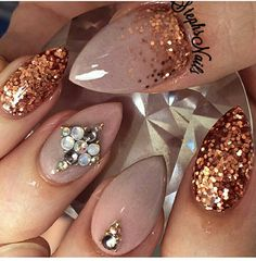 Almond shaped and glitter