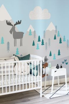 Transform your kid's bedrooms with one of these mountain wall murals. Adorable woodland animals are nestled amongst the pastel mint trees and snowy mountains. The neutral colours work a dream in bright and modern nursery spaces. Baby Boy Rooms, Baby Bedroom, Baby Boy Nurseries, Baby Boy Bedroom Ideas, Kids Bedroom Designs, Nursery Design, Nursery Room Decor, Bedroom Themes, Nursery Ideas