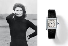 Cartier Tank Louis in white gold. In this 1969 photo, Jackie Kennedy is shown wearing a Tank Louis Cartier watch with a black leather strap.