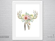 Watercolor Antlers Feathers Flowers wall art Printable by Suselis