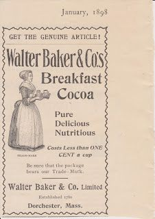 Free Vintage Clipart, Vintage Magazine Ads and Vintage Artwork Perfect for Home & Man-Cave Decor: Vintage 1898 Walter Baker & Co Nutritious Breakfast Cocoa Original Print Ad