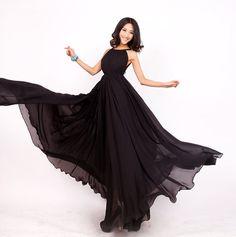 Black Long chiffon wedding dress sundress  Chiffon by swanstore, $49.99