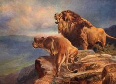 In The Enemys Country (Lions) : R. Atkinson Fox : Fine Art Giclee