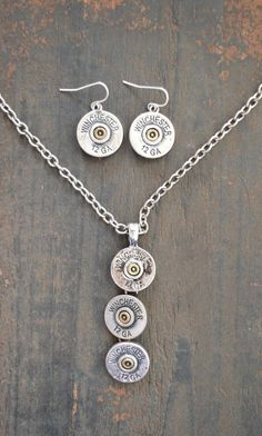 $9.99! COWGIRL Bling AMMO WINCHESTER 12GA Western Gypsy NECKLACE SET #Unbranded