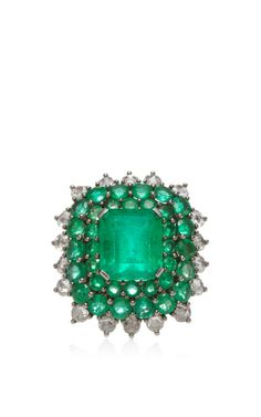 Emerald Cocktail Ring by Nam Cho for Preorder on Moda Operandi
