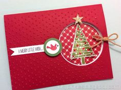 Festival of Trees Quick & Easy Punch Art Christmas Card.  By InkyPinkies with Stampin' Up!