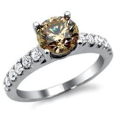 Brown Champagne Round Diamond Engagement Ring