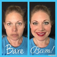 Bare to Bam! Youniuqe Uplift, Empower, Validate.  Face: Glorious Primer Face & Eye Primer, Refreshed Pure Rose Water, Illuminate Clear Face Cleanser, Touch Mineral Liquid Foundation in Chiffon. Eyes: Brows- Irresistable, Crease-Splurge Elegant, Outer V-Tenacious, Upper Lash Line-Precarious. Lips: Pompous Lip Liner & Sultry Lip Stain; 3D Fiber Lashes+