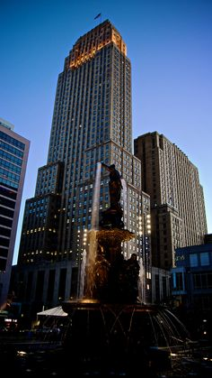 The Carew Tower and Tyler Davidson Fountain in downtown Cincinnati.