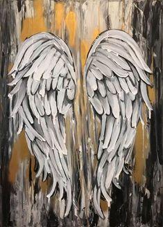 Angel Wings Art, Angel Wings Painting, Angel Artwork, Texture Painting On Canvas, Spray Paint On Canvas, Acrylic Spray, Paint Texture, Textured Painting, Acrylic Painting Canvas