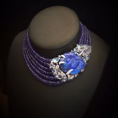 Scavia - Necklace with a large Opal, Diamonds and Tanzanite beads--great color combination