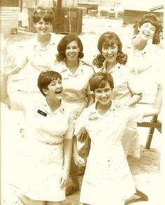 "Front row - Mary (Blanchard) Rowe & Jane Herring -- Center row - Lola (Music) Kramer & Kathy Matthias -- Top row - Larry (Young) Hines & Diane ""Dee Dee"" (Reddeman) Lee - August, 1968 in Don Ba Thien (18th Engineer Brigade)"