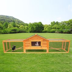 Petrum Portable Wood Rabbit Hutch Backyard Hen House Chicken Coop Pet Wood Cage