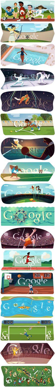 // 2012 Olympics Google Doodles @Randy Bradley