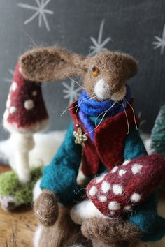 Needle Felted Hare And Toadstool by OkieFolky on Etsy
