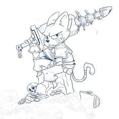 A feline sword-swinging hero sulks on a pile of treasure in this by Andy Estrada ( Im not sure why he seems angry what with that mound of gems and gold coins about him but I suppose it could have something to do with Tiny Cats, Cats And Kittens, Cat Character, Character Design, Angry Cat, All About Cats, Cat Facts, Fantasy Artwork, Broken Sword
