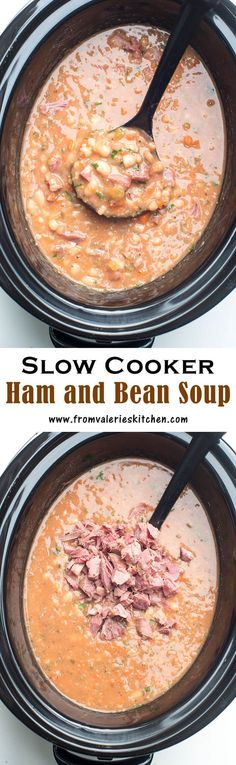 A great way to make use of the ham bone from your holiday ham. This Slow Cooker Ham and Bean Soup is the perfect post-holiday comfort food! Crock Pot Slow Cooker, Pressure Cooker Recipes, Crockpot Recipes, Cooking Recipes, Crockpot Ham And Beans, Comfort Food Recipes, Comfort Foods, Ham And Bean Soup, White Bean Ham Soup