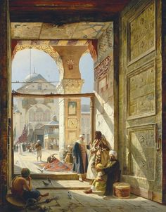 Gustav Bauernfeind (German, 1848-1904)  The Gate of the Great Umayyad Mosque, Damascus  oil on panel  47 5/8 x 38 in. (121 x 96.5 cm.)  Painted in Munich, 1890.