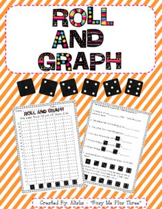Roll and Graph Dice Game Kindergarten, First, Second Grade GRAPHING from Busy Me Plus Three on TeachersNotebook.com -  (9 pages)  - A great dice game that teaches graphing.