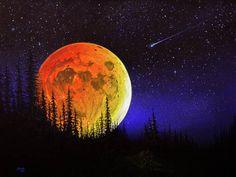 The Joy Of Painting, Moon Painting, Painting & Drawing, Fine Art Amerika, Bob Ross Paintings, Harvest Moon, Moon Art, Painting Inspiration, Watercolor Art