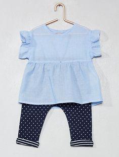 2fa69a95bd7fc Conjunto de blusa + pantalón sarouel de algodón puro. Kiabi