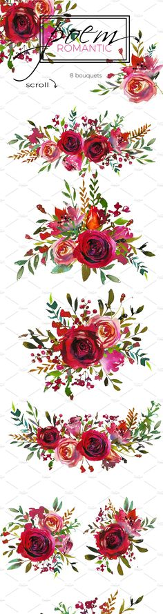 Romantic Poem Watercolor Floral Set - Illustrations - 5