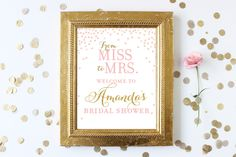 Bridal Shower Welcome Sign Printable . From Miss to Mrs Welcome to Bridal Shower Personalized Sign . Digital Download . Pink and Gold Sign by hellorosepaperie on Etsy https://www.etsy.com/listing/462381462/bridal-shower-welcome-sign-printable