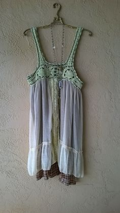 Image of Free People Crochet straps lace and plaid babydoll dress for fall