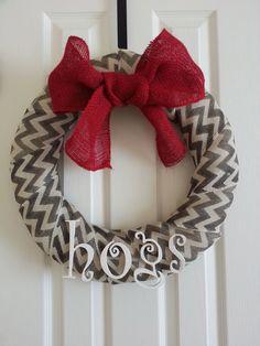 Chevron Razorback Wreath by RheallyHandmade on Etsy, $30.00