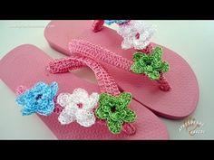 Sandálias Decoradas em Crochê Garden - Aprendendo Croche - YouTube