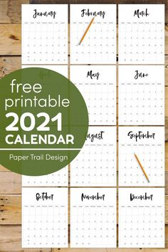 2021 Free Printable Monthly Calendar | Paper Trail Design