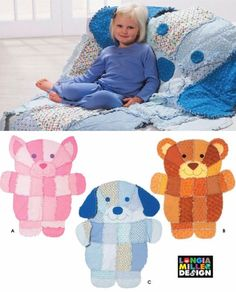 Rag Quilt Sewing Pattern Bear Cat Dog/ Simplicity 4993 Longia Miller Design/animal kids blanket throw cotton flannel fleece/ UNCUT by RedWickerBasket on Etsy Doll Crafts, Sewing Crafts, Sewing Projects, Owl Sewing, Dog Quilts, Animal Quilts, Cat Quilt, Quilt Baby, Rag Quilt Patterns