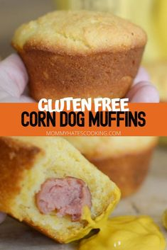 Make the perfect back to school lunch with Corn Dog Muffins. These are like corn dogs but in muffin form, simple to pack into lunches and gluten-free! Gluten Free Muffins, Gluten Free Cookies, Gluten Free Desserts, Gluten Free Recipes, Baking Recipes, Lunch Recipes, Easy Dinner Recipes, Great Recipes, Appetizer Recipes