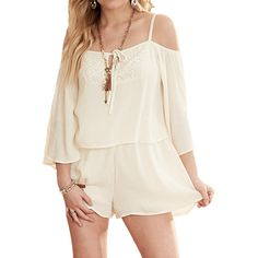 Fashion on Earth Women's Crochet Accent Romper (comes in Navy too)