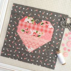 Pieced heart quilt block for Valentine's Day