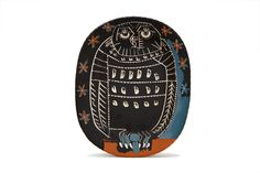 "Pablo Picasso  Mat Owl Platter  Stamped and painted ceramic  Madoura  1955  Edition of 450  15.25″ x 12.25″  ""Edition Picasso Madoura"" verso with Madoura stamp  Ramie 284"