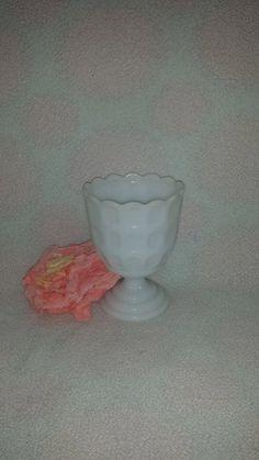 $24--Vintage EO Brody Scalloped Footed Milk Glass Vase * Wedding Centerpiece * EO Brody Milk Glass Compote, M4200, USA, Wedding Decor, Shower by JunkYardBlonde on Etsy