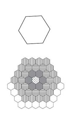 Free English Paper Piecing 1 Inch Hex Triple Ring Flower Pattern