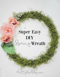 Easy DIY Spring Wreath. DIY Moss Wreath.