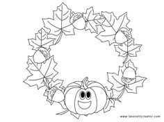 ghirlanda-autunno Autumn Crafts, Fall Crafts For Kids, Summer Crafts, Art For Kids, Fall Coloring Pages, Free Coloring, Coloring Sheets, Coloring Books, Monkey Crafts