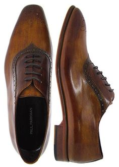 PAUL PARKMAN ® Mens Medallion Toe Brown Brogue Oxford Shoes - Leather Upper  Leather Sole