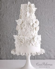 Indescribable Your Wedding Cakes Ideas. Exhilarating Your Wedding Cakes Ideas. Floral Wedding Cakes, White Wedding Cakes, Elegant Wedding Cakes, Elegant Cakes, Wedding Cake Designs, Wedding Cake Toppers, Floral Cake, Cake Wedding, Purple Wedding