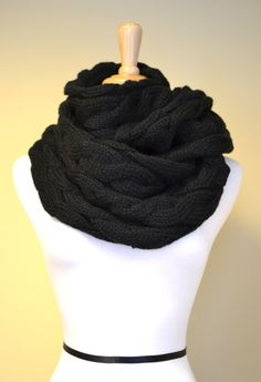 BLACK Chunky Knitted Infinity Loop Scarf Cable Pattern Gift Idea. $44.00, via Etsy.