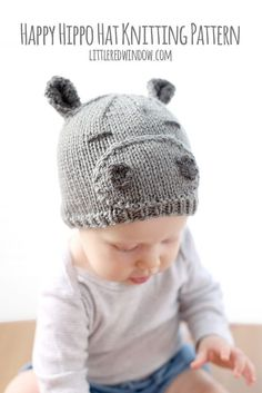 Knit a happy little hippo hat for your baby with this cute knitting pattern!