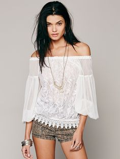 Free People Lace Banded Bottom Blouse, $128.00