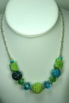 Green and aqua chunky necklace set by janetscustomjewelry on Etsy, $20.00